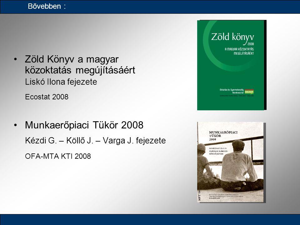 Zöld Könyv a magyar közoktatás megújításáért Liskó Ilona fejezete Ecostat 2008 Munkaerőpiaci Tükör 2008 Kézdi G. – Köllő J. – Varga J. fejezete OFA-MT