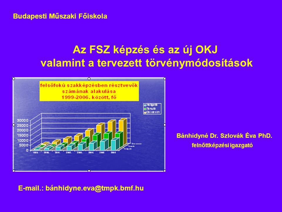 Az FSZ képzés és az új OKJ valamint a tervezett törvénymódosítások Bánhidyné Dr.