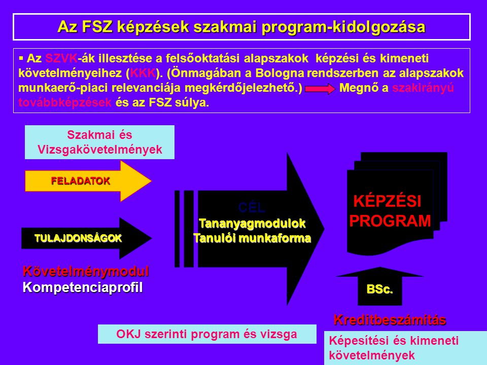 KövetelménymodulKompetenciaprofil Kreditbeszámítás Kreditbeszámítás Az FSZ képzések szakmai program-kidolgozása KÉPZÉSI PROGRAM CÉLTananyagmodulok Tanulói munkaforma FELADATOK TULAJDONSÁGOK BSc.