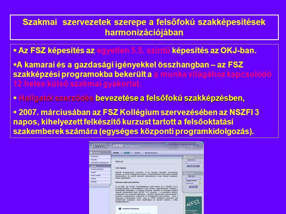  Az FSZ képesítés az egyetlen 5.5. szintű képesítés az OKJ-ban.
