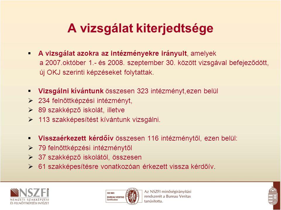 A vizsgálat kiterjedtsége  A vizsgálat azokra az intézményekre irányult, amelyek a 2007.október 1.- és 2008.