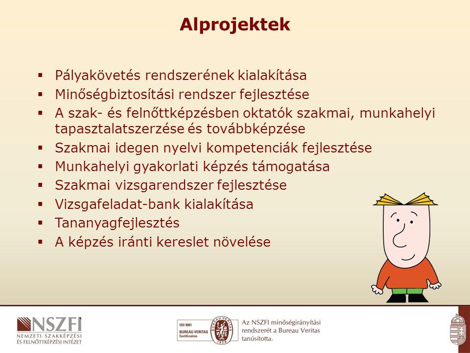Alprojektek  Pályakövetés rendszerének kialakítása  Minőségbiztosítási rendszer fejlesztése  A szak- és felnőttképzésben oktatók szakmai, munkahelyi tapasztalatszerzése és továbbképzése  Szakmai idegen nyelvi kompetenciák fejlesztése  Munkahelyi gyakorlati képzés támogatása  Szakmai vizsgarendszer fejlesztése  Vizsgafeladat-bank kialakítása  Tananyagfejlesztés  A képzés iránti kereslet növelése