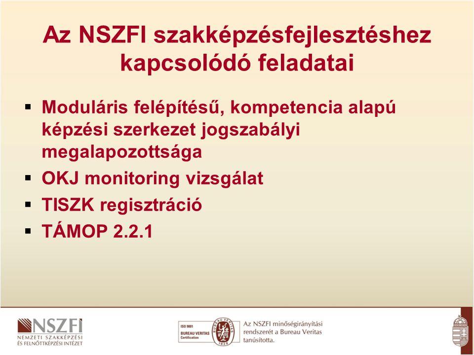 Az NSZFI szakképzésfejlesztéshez kapcsolódó feladatai  Moduláris felépítésű, kompetencia alapú képzési szerkezet jogszabályi megalapozottsága  OKJ monitoring vizsgálat  TISZK regisztráció  TÁMOP 2.2.1