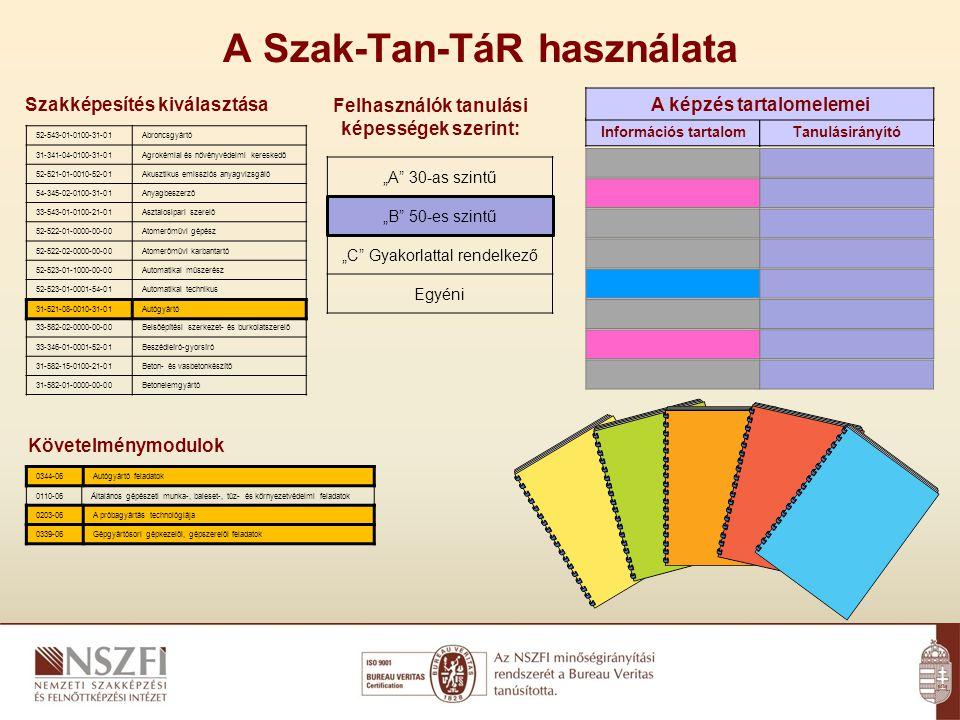 """A Szak-Tan-TáR használata Szakképesítés kiválasztása Követelménymodulok 52-543-01-0100-31-01Abroncsgyártó 31-341-04-0100-31-01Agrokémiai és növényvédelmi kereskedő 52-521-01-0010-52-01Akusztikus emissziós anyagvizsgáló 54-345-02-0100-31-01Anyagbeszerző 33-543-01-0100-21-01Asztalosipari szerelő 52-522-01-0000-00-00Atomerőművi gépész 52-522-02-0000-00-00Atomerőművi karbantartó 52-523-01-1000-00-00Automatikai műszerész 52-523-01-0001-54-01Automatikai technikus 31-521-08-0010-31-01Autógyártó 33-582-02-0000-00-00Belsőépítési szerkezet- és burkolatszerelő 33-346-01-0001-52-01Beszédleíró-gyorsíró 31-582-15-0100-21-01Beton- és vasbetonkészítő 31-582-01-0000-00-00Betonelemgyártó 0344-06Autógyártó feladatok 0110-06Általános gépészeti munka-, baleset-, tűz- és környezetvédelmi feladatok 0203-06A próbagyártás technológiája 0339-06Gépgyártósori gépkezelői, gépszerelői feladatok 31-521-08-0010-31-01Autógyártó Felhasználók tanulási képességek szerint: Információs tartalomTanulásirányító 0344-06Autógyártó feladatok 0203-06A próbagyártás technológiája 0339-06Gépgyártósori gépkezelői, gépszerelői feladatok """"A 30-as szintű """"B 50-es szintű """"C Gyakorlattal rendelkező Egyéni A képzés tartalomelemei"""