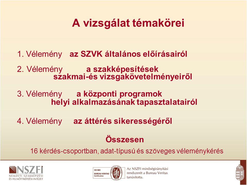 A vizsgálat témakörei 1.Vélemény az SZVK általános előírásairól 2.
