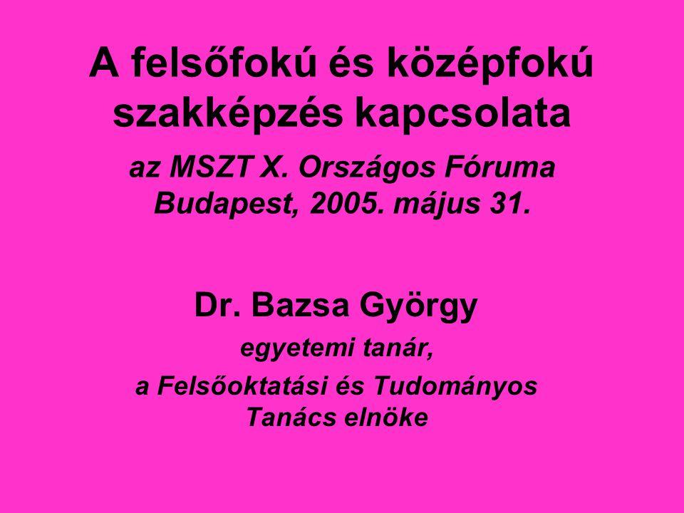 A felsőfokú és középfokú szakképzés kapcsolata az MSZT X. Országos Fóruma Budapest, 2005. május 31. Dr. Bazsa György egyetemi tanár, a Felsőoktatási é