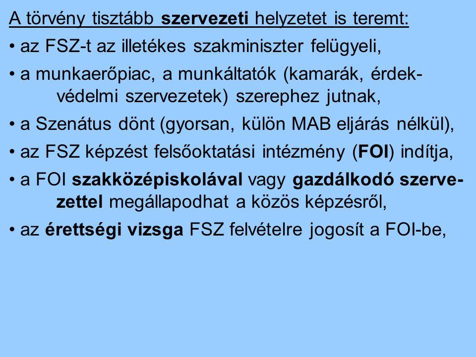 A törvény tisztább szervezeti helyzetet is teremt: az FSZ-t az illetékes szakminiszter felügyeli, a munkaerőpiac, a munkáltatók (kamarák, érdek- védel