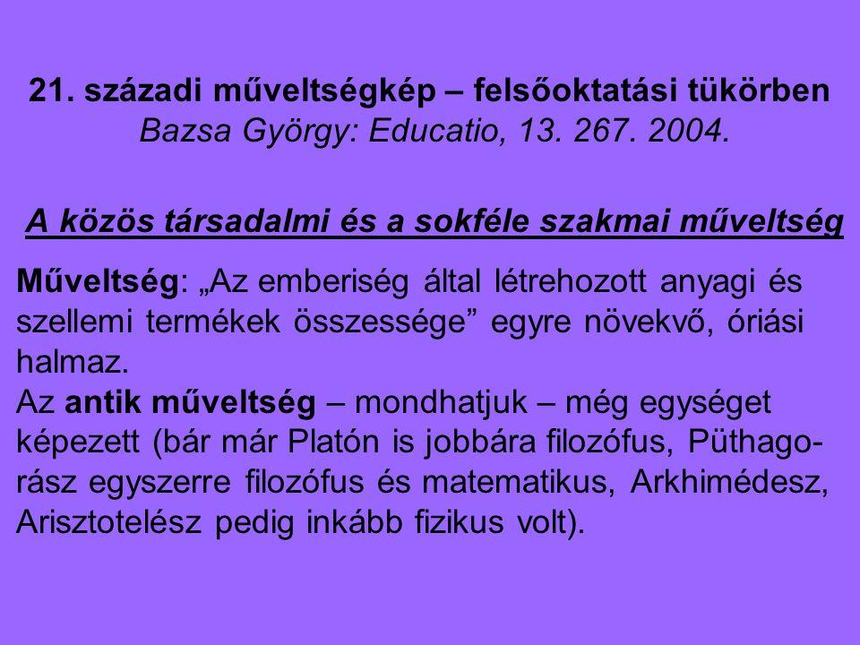 21. századi műveltségkép – felsőoktatási tükörben Bazsa György: Educatio, 13. 267. 2004. A közös társadalmi és a sokféle szakmai műveltség Műveltség: