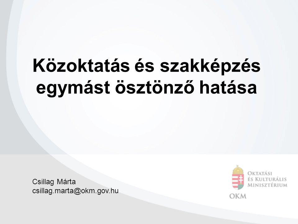 Közoktatás és szakképzés egymást ösztönző hatása Csillag Márta csillag.marta@okm.gov.hu