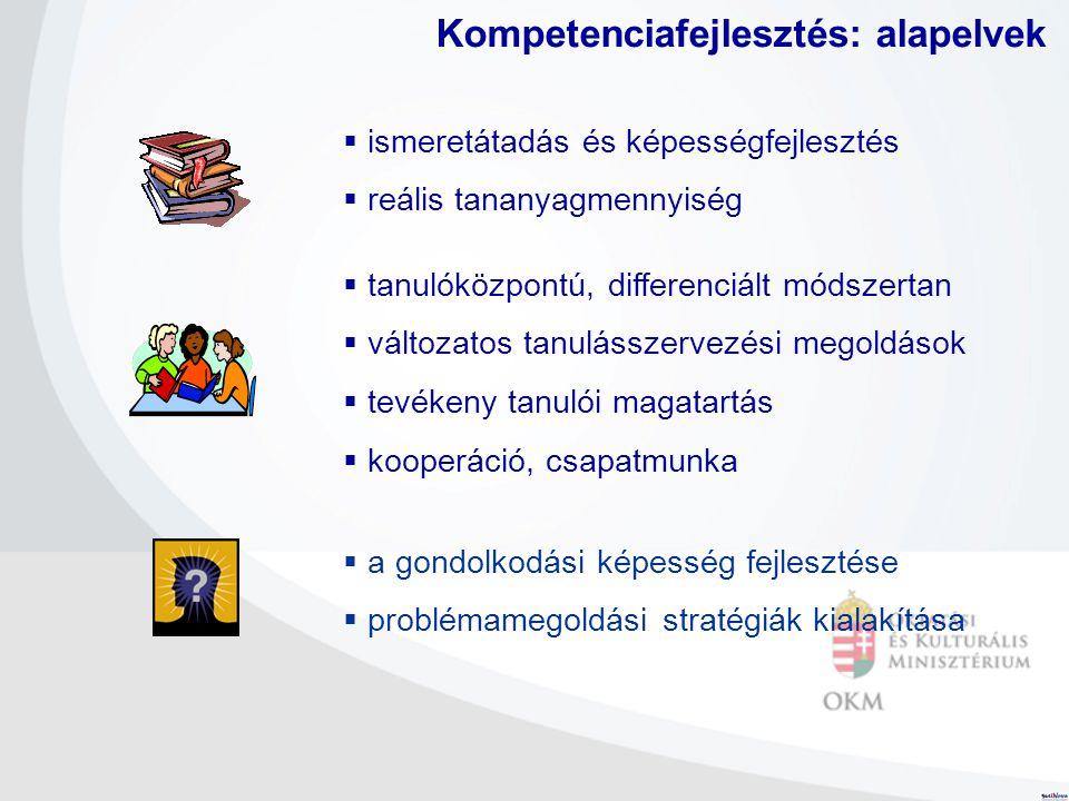  ismeretátadás és képességfejlesztés  reális tananyagmennyiség Kompetenciafejlesztés: alapelvek  tanulóközpontú, differenciált módszertan  változa