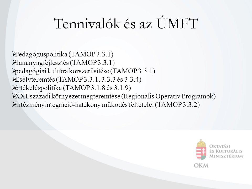 Tennivalók és az ÚMFT  Pedagóguspolitika (TAMOP 3.3.1)  Tananyagfejlesztés (TAMOP 3.3.1)  pedagógiai kultúra korszerűsítése (TAMOP 3.3.1)  Esélyte