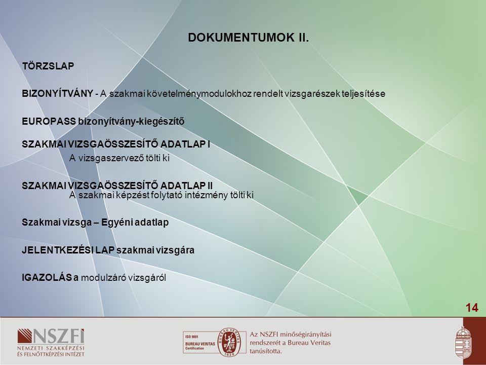 14 TÖRZSLAP BIZONYÍTVÁNY - A szakmai követelménymodulokhoz rendelt vizsgarészek teljesítése EUROPASS bizonyítvány-kiegészítő SZAKMAI VIZSGAÖSSZESÍTŐ ADATLAP I A vizsgaszervező tölti ki SZAKMAI VIZSGAÖSSZESÍTŐ ADATLAP II A szakmai képzést folytató intézmény tölti ki Szakmai vizsga – Egyéni adatlap JELENTKEZÉSI LAP szakmai vizsgára IGAZOLÁS a modulzáró vizsgáról DOKUMENTUMOK II.