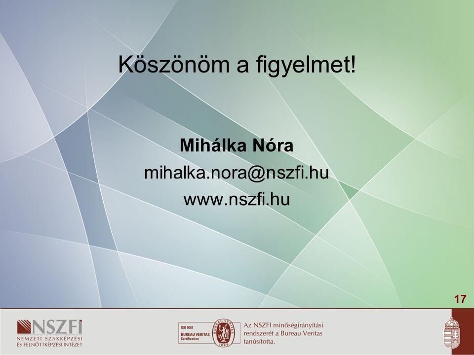 17 Köszönöm a figyelmet! Mihálka Nóra mihalka.nora@nszfi.hu www.nszfi.hu