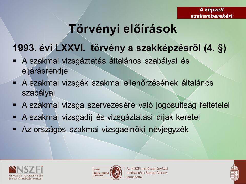 A képzett szakemberekért Törvényi előírások 1993.évi LXXVI.