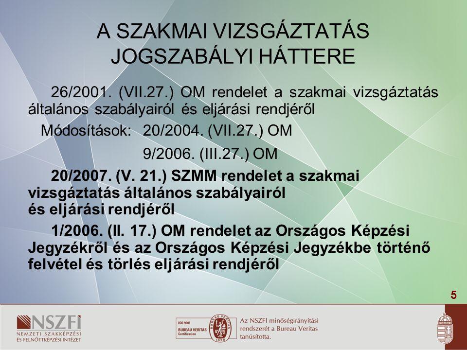 5 A SZAKMAI VIZSGÁZTATÁS JOGSZABÁLYI HÁTTERE 26/2001.