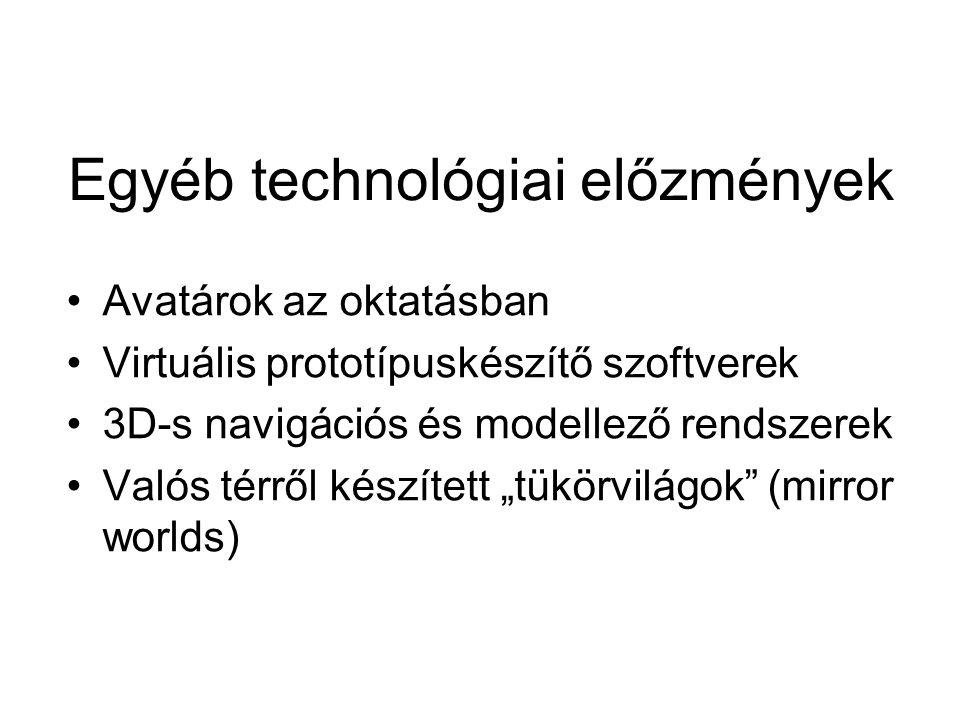 """Egyéb technológiai előzmények Avatárok az oktatásban Virtuális prototípuskészítő szoftverek 3D-s navigációs és modellező rendszerek Valós térről készített """"tükörvilágok (mirror worlds)"""