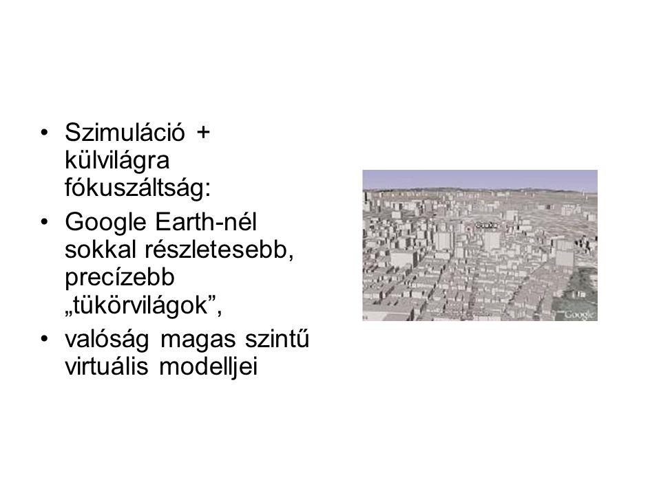 """Szimuláció + külvilágra fókuszáltság: Google Earth-nél sokkal részletesebb, precízebb """"tükörvilágok , valóság magas szintű virtuális modelljei"""