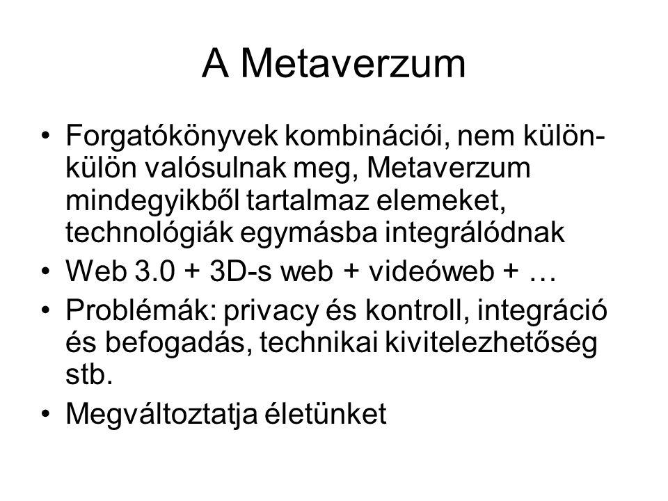 A Metaverzum Forgatókönyvek kombinációi, nem külön- külön valósulnak meg, Metaverzum mindegyikből tartalmaz elemeket, technológiák egymásba integrálódnak Web 3.0 + 3D-s web + videóweb + … Problémák: privacy és kontroll, integráció és befogadás, technikai kivitelezhetőség stb.