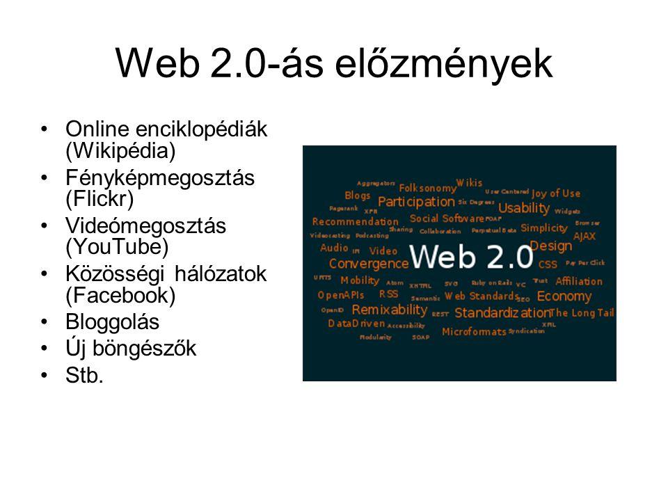 Web 2.0-ás előzmények Online enciklopédiák (Wikipédia) Fényképmegosztás (Flickr) Videómegosztás (YouTube) Közösségi hálózatok (Facebook) Bloggolás Új böngészők Stb.