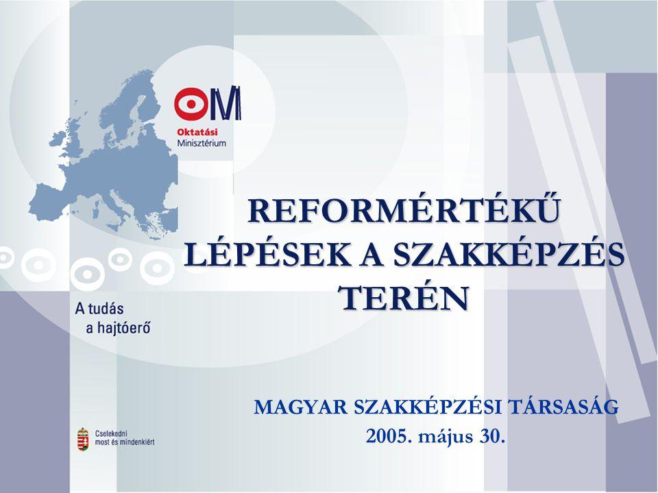 REFORMÉRTÉKŰ LÉPÉSEK A SZAKKÉPZÉS TERÉN MAGYAR SZAKKÉPZÉSI TÁRSASÁG 2005. május 30.
