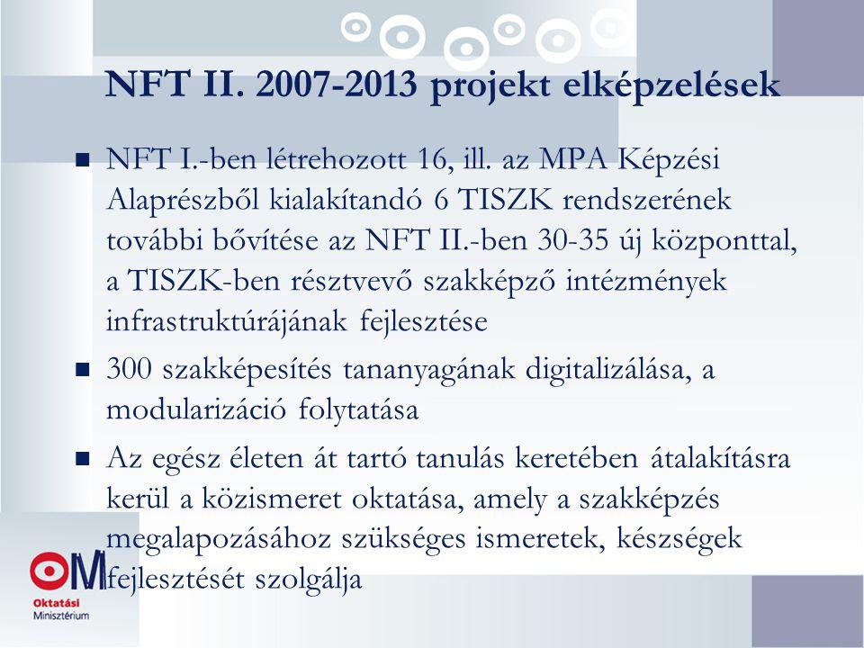 NFT II. 2007-2013 projekt elképzelések n NFT I.-ben létrehozott 16, ill.