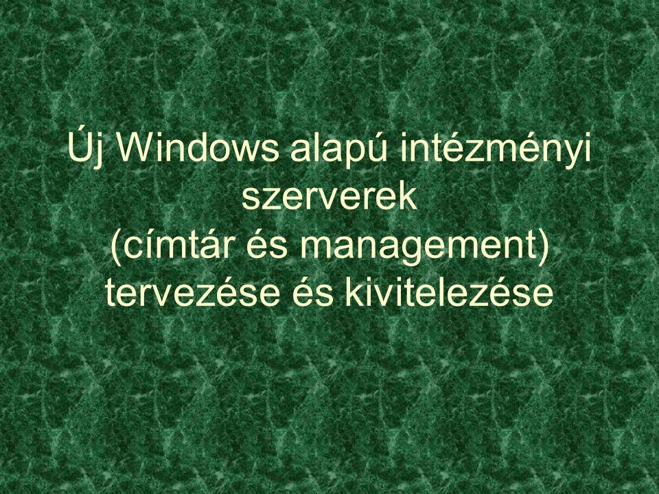 Új Windows alapú intézményi szerverek (címtár és management) tervezése és kivitelezése
