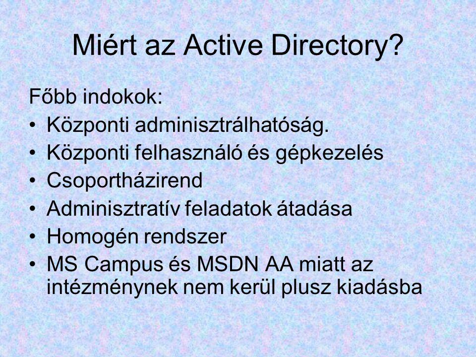 Miért az Active Directory. Főbb indokok: Központi adminisztrálhatóság.