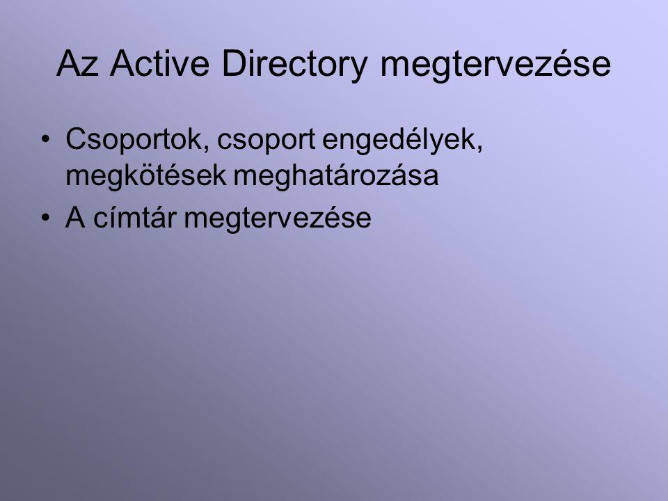 Az Active Directory megtervezése Csoportok, csoport engedélyek, megkötések meghatározása A címtár megtervezése