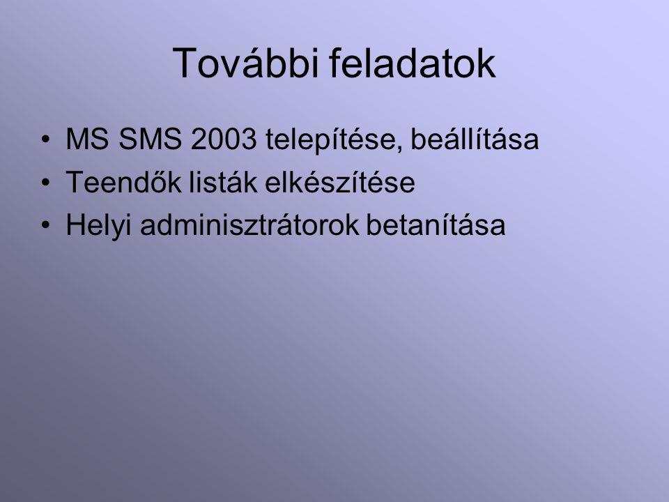 További feladatok MS SMS 2003 telepítése, beállítása Teendők listák elkészítése Helyi adminisztrátorok betanítása