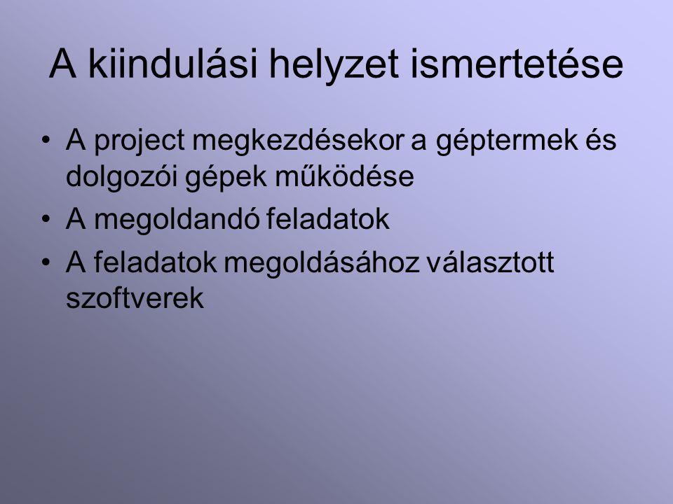 A kiindulási helyzet ismertetése A project megkezdésekor a géptermek és dolgozói gépek működése A megoldandó feladatok A feladatok megoldásához választott szoftverek