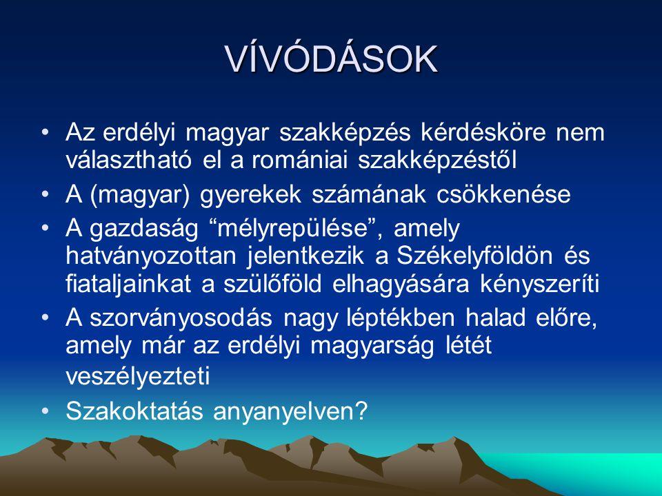 VÍVÓDÁSOK Az erdélyi magyar szakképzés kérdésköre nem választható el a romániai szakképzéstől A (magyar) gyerekek számának csökkenése A gazdaság mélyrepülése , amely hatványozottan jelentkezik a Székelyföldön és fiataljainkat a szülőföld elhagyására kényszeríti A szorványosodás nagy léptékben halad előre, amely már az erdélyi magyarság létét veszélyezteti Szakoktatás anyanyelven