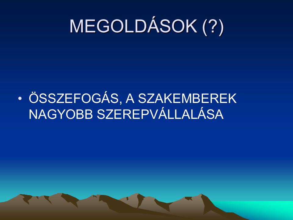 MEGOLDÁSOK (?) ÖSSZEFOGÁS, A SZAKEMBEREK NAGYOBB SZEREPVÁLLALÁSA