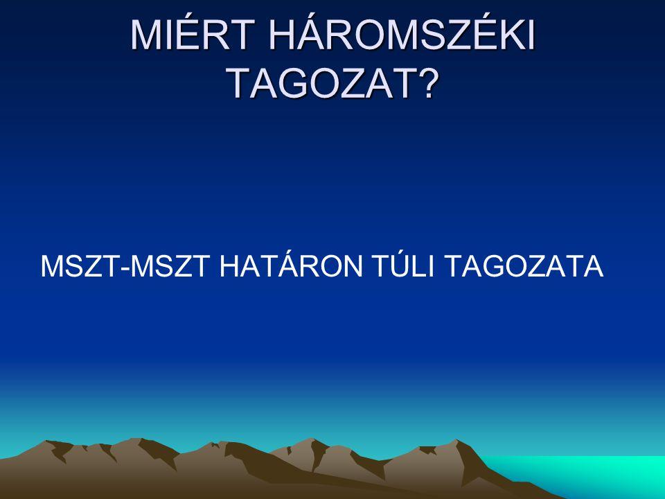 MIÉRT HÁROMSZÉKI TAGOZAT MSZT-MSZT HATÁRON TÚLI TAGOZATA