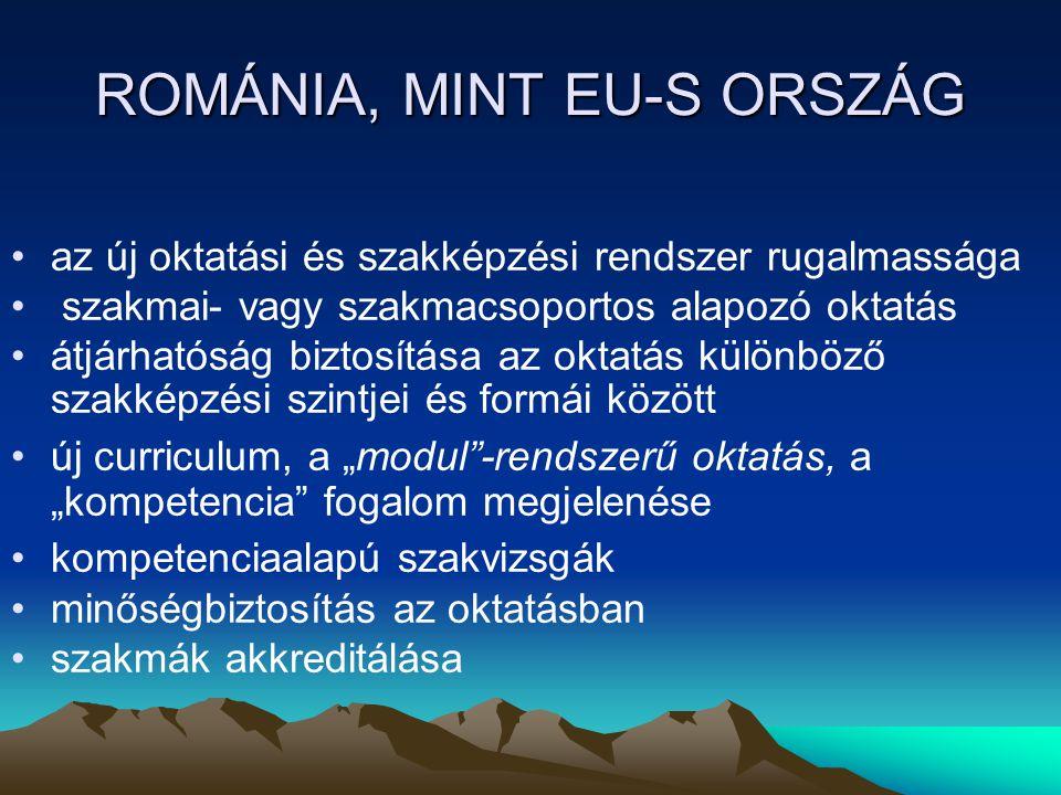 ROMÁNIA, MINT EU-S ORSZÁG az új oktatási és szakképzési rendszer rugalmassága szakmai- vagy szakmacsoportos alapozó oktatás átjárhatóság biztosítása a