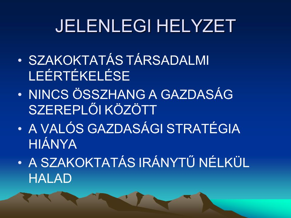 VÍVÓDÁSOK Az erdélyi magyar szakképzés kérdésköre nem választható el a romániai szakképzéstől A (magyar) gyerekek számának csökkenése A gazdaság mélyrepülése , amely hatványozottan jelentkezik a Székelyföldön és fiataljainkat a szülőföld elhagyására kényszeríti A szorványosodás nagy léptékben halad előre, amely már az erdélyi magyarság létét veszélyezteti Szakoktatás anyanyelven?