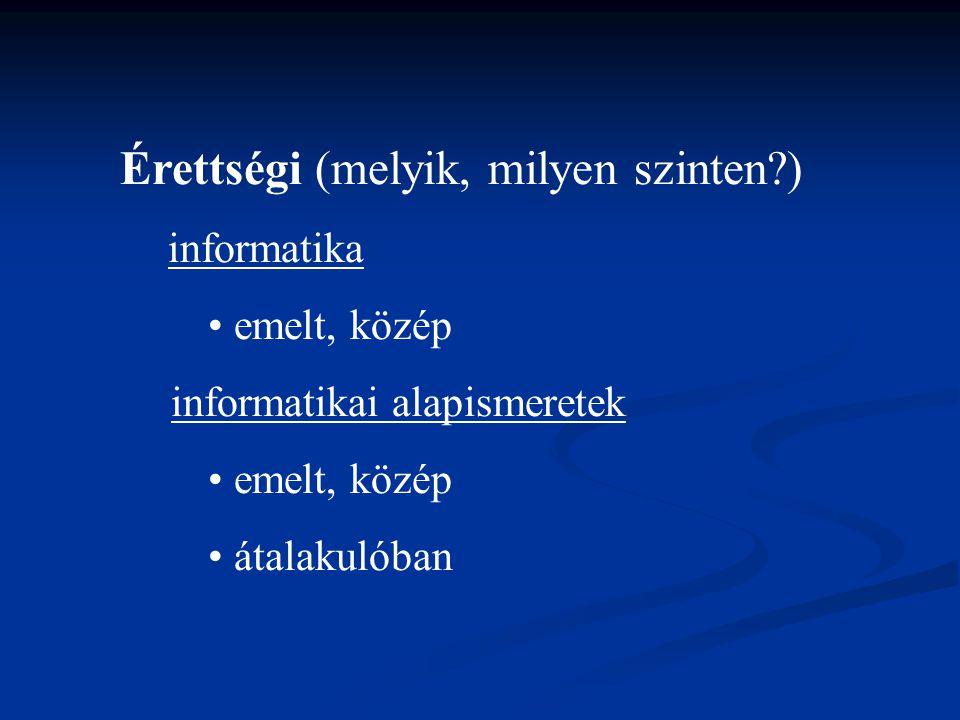Érettségi (melyik, milyen szinten?) informatika emelt, közép informatikai alapismeretek emelt, közép átalakulóban