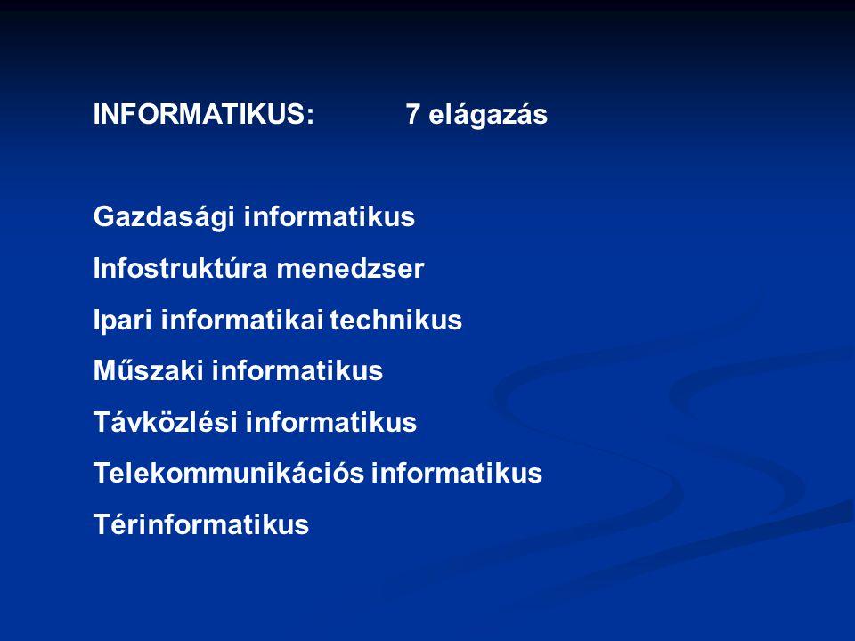 INFORMATIKAI RENDSZERGAZDA: 7 elágazás Informatikai hálózattelepítő és -üzemeltető Informatikai műszerész IT biztonság technikus IT kereskedő Számítógéprendszer-karbantartó Szórakoztatótechnikai műszerész Webmester