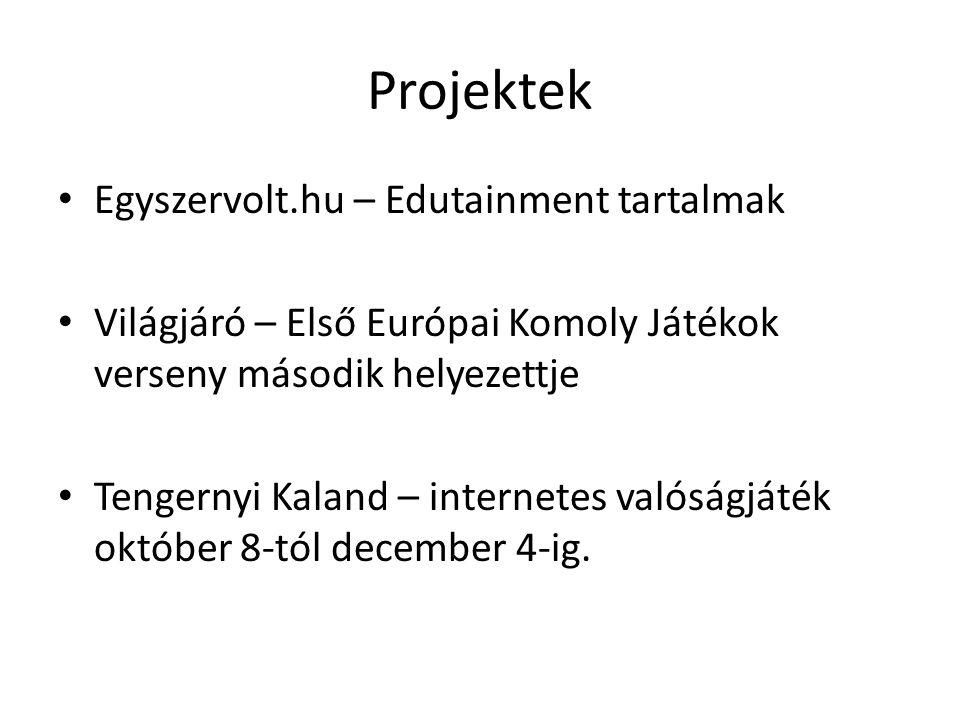 Projektek Egyszervolt.hu – Edutainment tartalmak Világjáró – Első Európai Komoly Játékok verseny második helyezettje Tengernyi Kaland – internetes valóságjáték október 8-tól december 4-ig.
