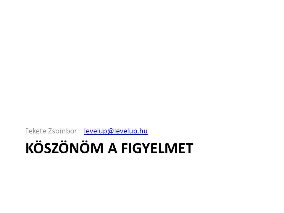 KÖSZÖNÖM A FIGYELMET Fekete Zsombor – levelup@levelup.hulevelup@levelup.hu