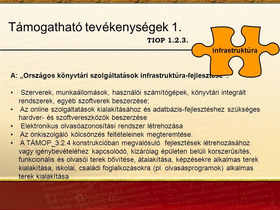 Támogatható tevékenységek 1. TIOP 1.2.3.