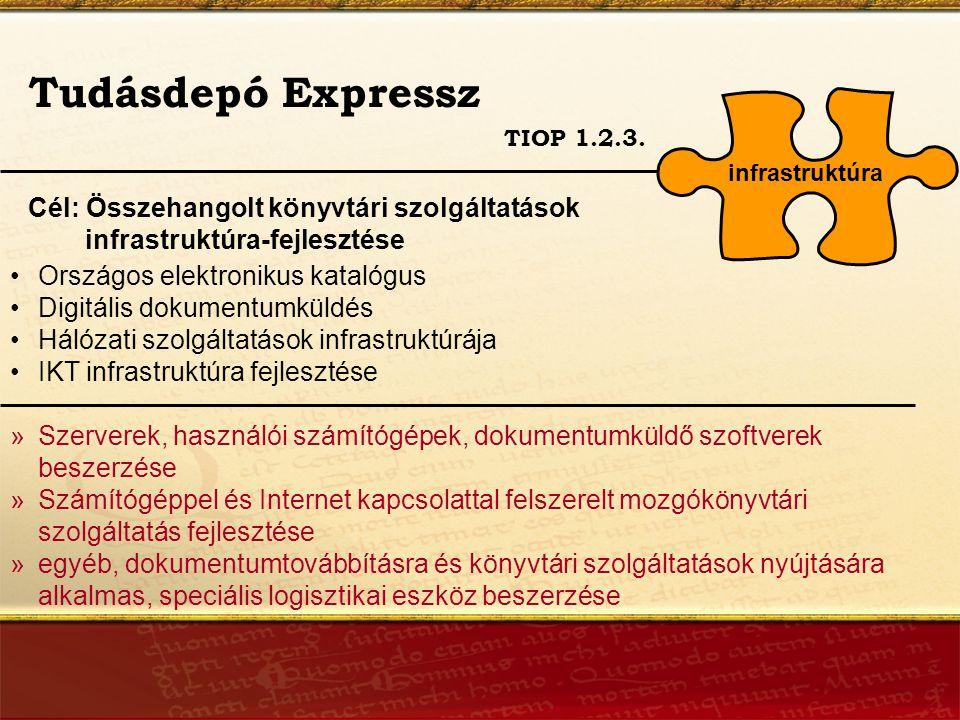 Tudásdepó Expressz Cél: Összehangolt könyvtári szolgáltatások infrastruktúra-fejlesztése TIOP 1.2.3.