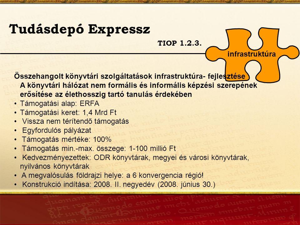 Támogatható tevékenységek 1.TIOP 1.2.3.