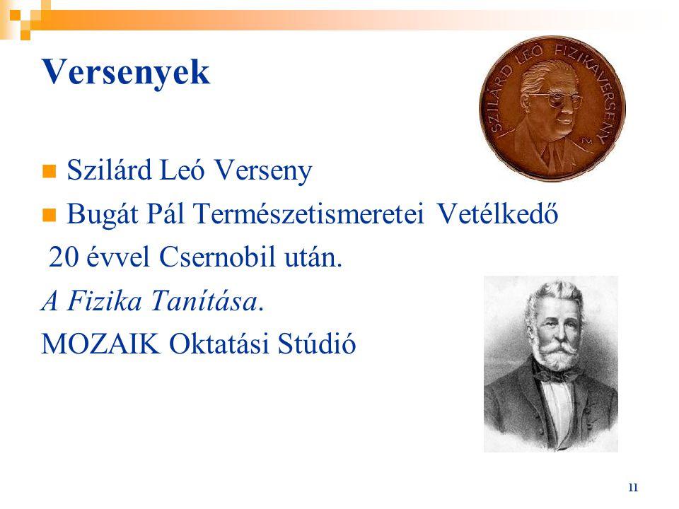 11 Versenyek Szilárd Leó Verseny Bugát Pál Természetismeretei Vetélkedő 20 évvel Csernobil után. A Fizika Tanítása. MOZAIK Oktatási Stúdió