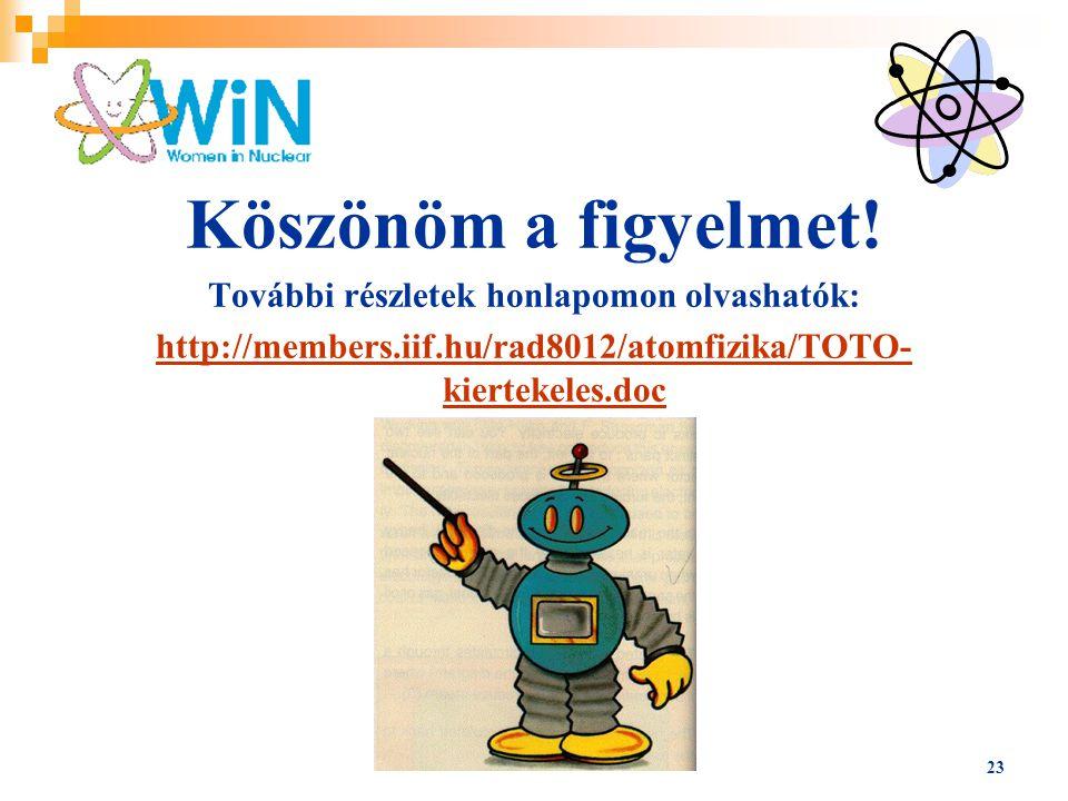 23 Köszönöm a figyelmet! További részletek honlapomon olvashatók: http://members.iif.hu/rad8012/atomfizika/TOTO- kiertekeles.doc