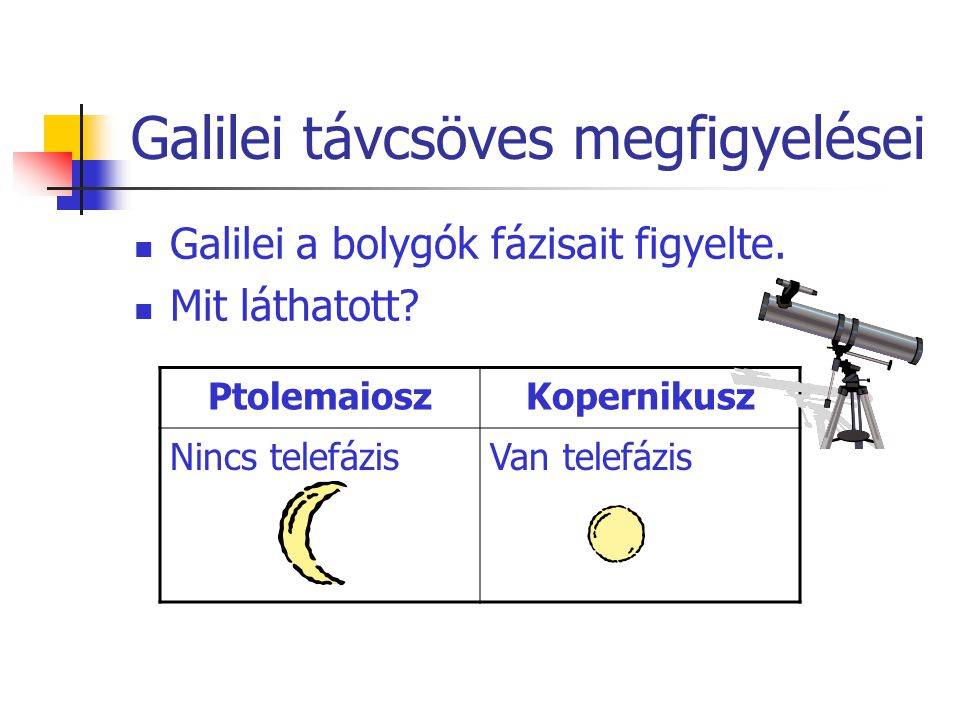 Galilei távcsöves megfigyelései Galilei a bolygók fázisait figyelte. Mit láthatott? PtolemaioszKopernikusz Nincs telefázisVan telefázis