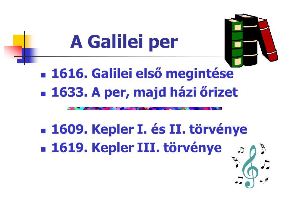 A Galilei per 1616. Galilei első megintése 1633. A per, majd házi őrizet 1609. Kepler I. és II. törvénye 1619. Kepler III. törvénye