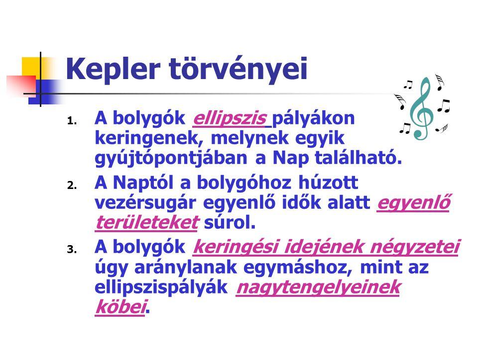 Kepler törvényei 1. A bolygók ellipszis pályákon keringenek, melynek egyik gyújtópontjában a Nap található. 2. A Naptól a bolygóhoz húzott vezérsugár