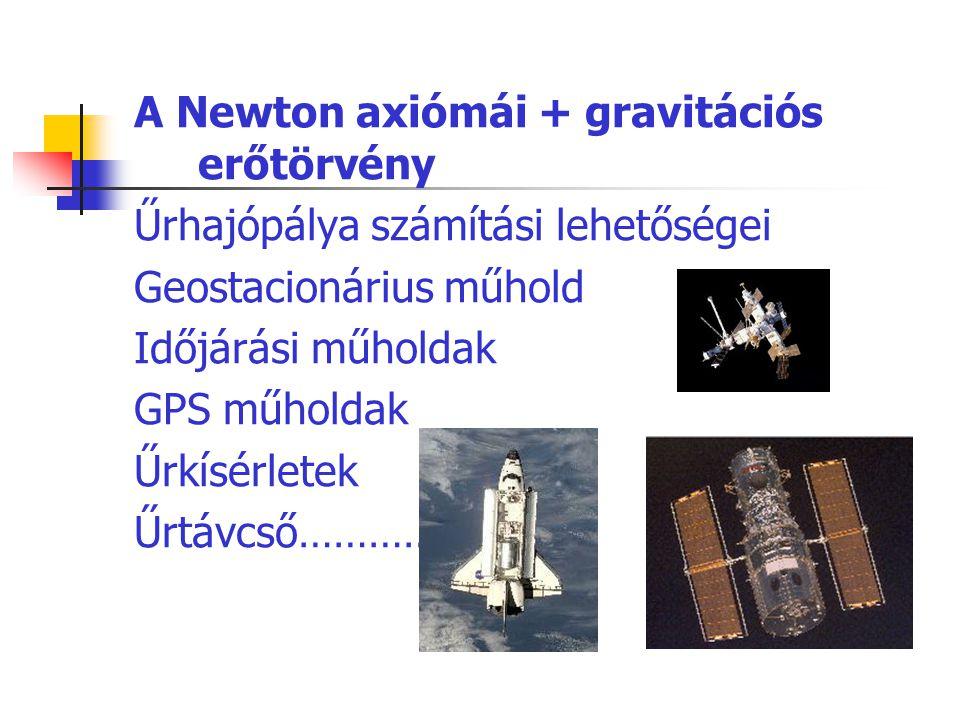 A Newton axiómái + gravitációs erőtörvény Űrhajópálya számítási lehetőségei Geostacionárius műhold Időjárási műholdak GPS műholdak Űrkísérletek Űrtávc