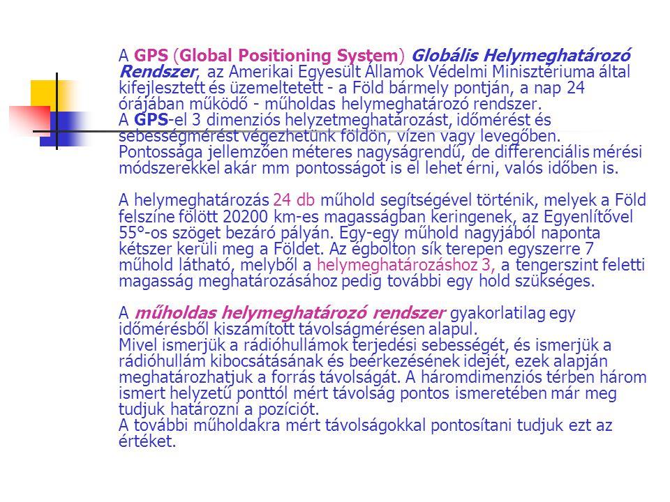 A GPS (Global Positioning System) Globális Helymeghatározó Rendszer, az Amerikai Egyesült Államok Védelmi Minisztériuma által kifejlesztett és üzemelt