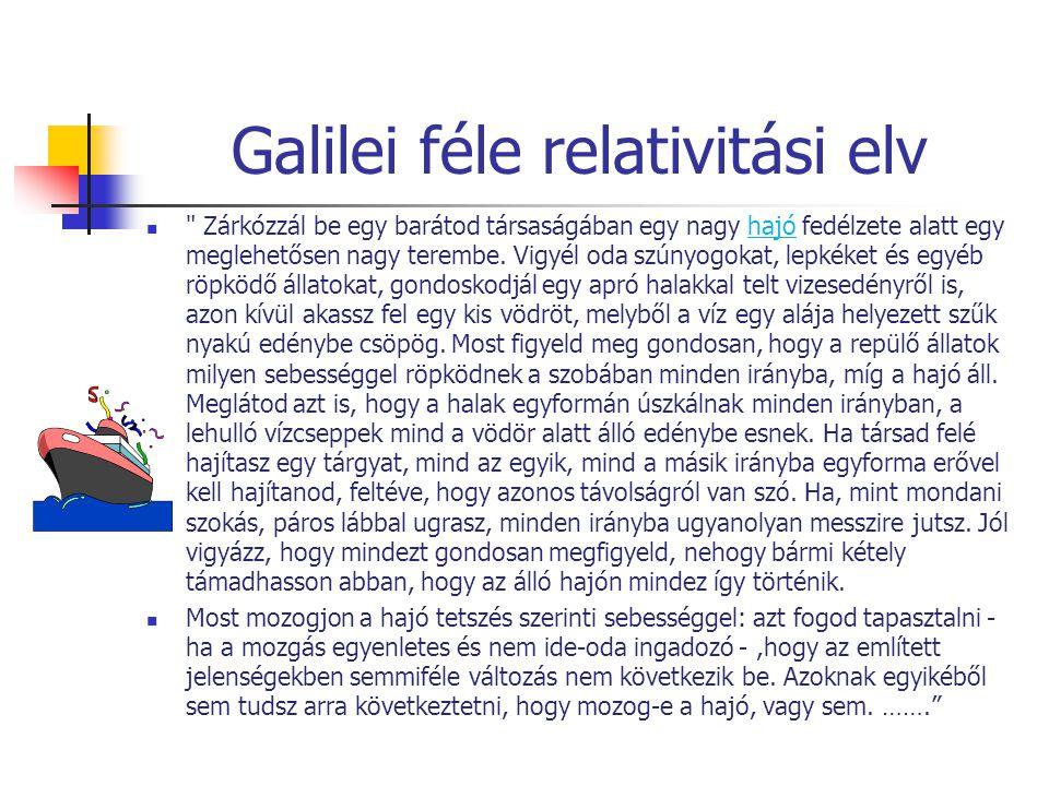 Galilei féle relativitási elv